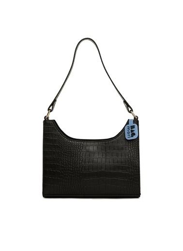 Bagmori  Kadın Mat Kroko Büyük Omuz Baget M000006133 Siyah